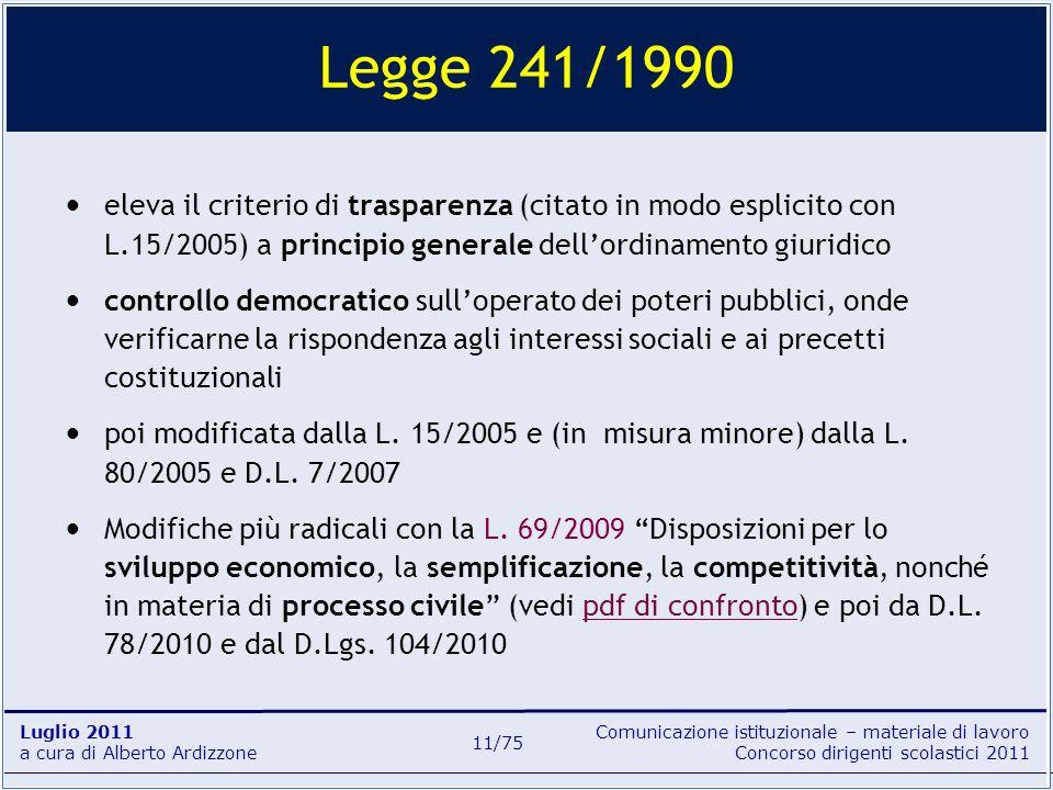 Comunicazione istituzionale – materiale di lavoro Concorso dirigenti scolastici 2011 Luglio 2011 a cura di Alberto Ardizzone 11/75 eleva il criterio d