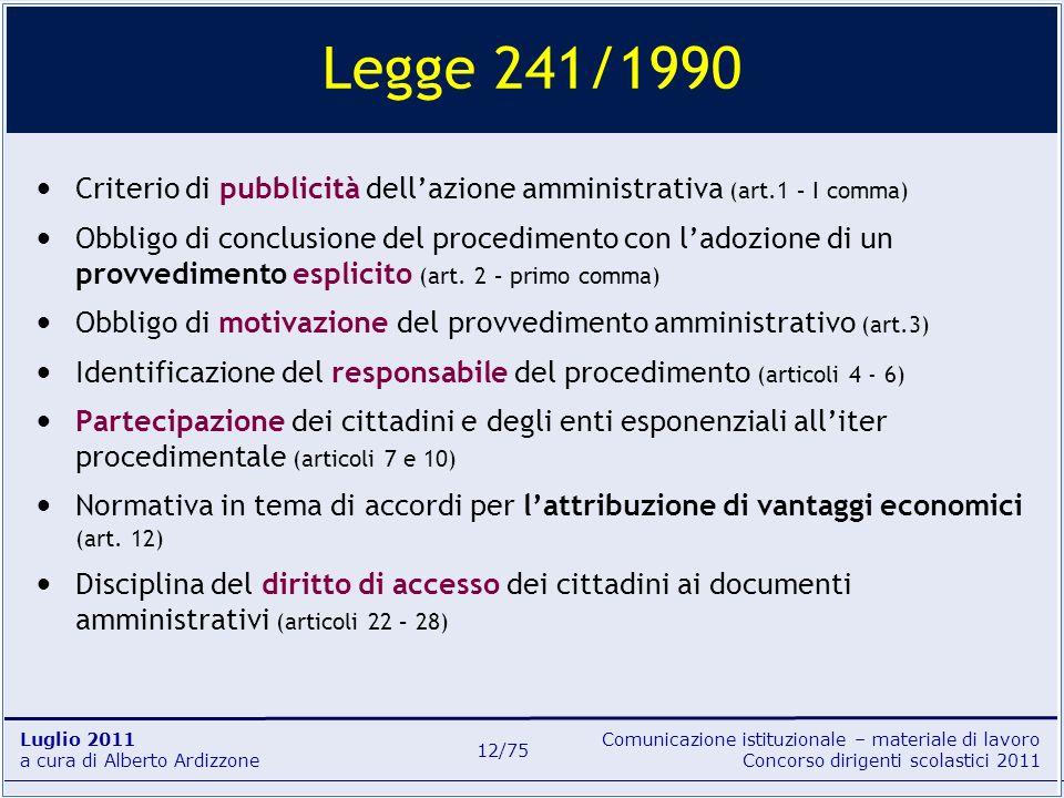 Comunicazione istituzionale – materiale di lavoro Concorso dirigenti scolastici 2011 Luglio 2011 a cura di Alberto Ardizzone 12/75 Legge 241/1990 Crit