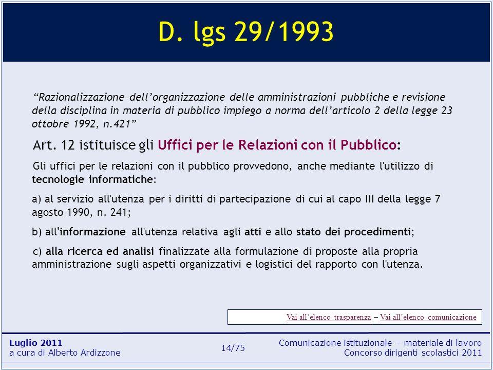 Comunicazione istituzionale – materiale di lavoro Concorso dirigenti scolastici 2011 Luglio 2011 a cura di Alberto Ardizzone 14/75 D. lgs 29/1993 Razi