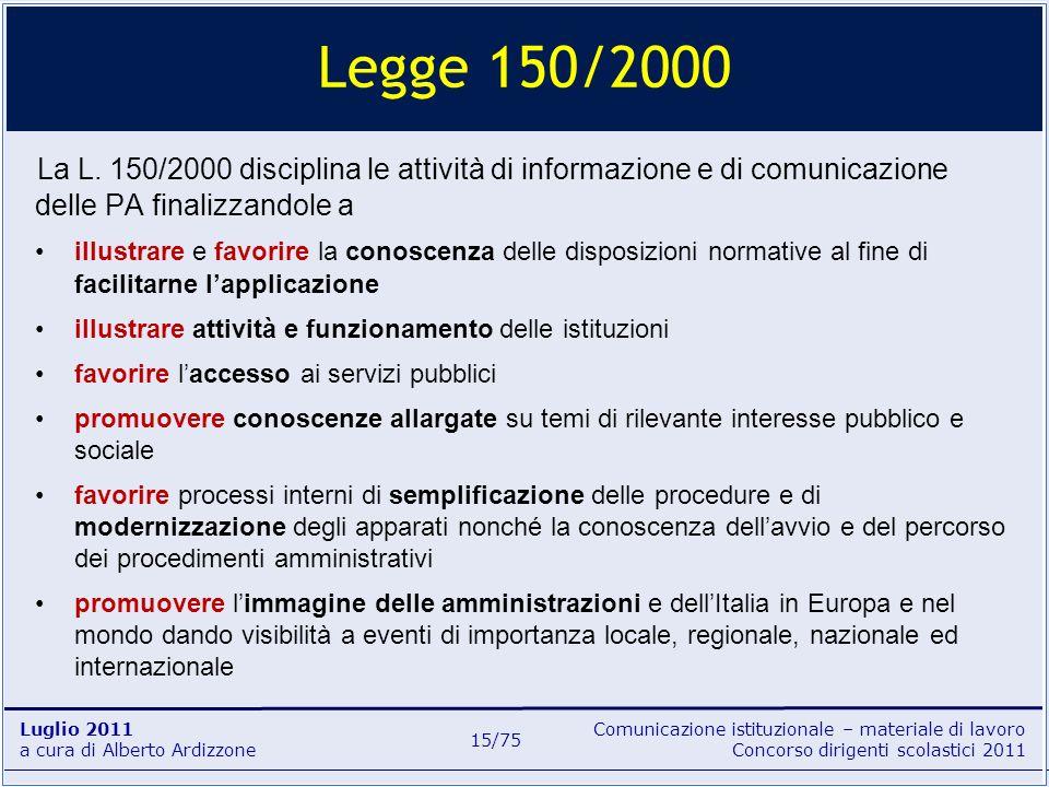 Comunicazione istituzionale – materiale di lavoro Concorso dirigenti scolastici 2011 Luglio 2011 a cura di Alberto Ardizzone 15/75 La L. 150/2000 disc