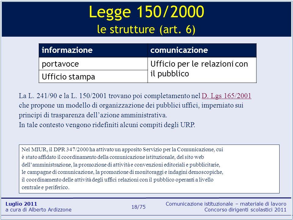 Comunicazione istituzionale – materiale di lavoro Concorso dirigenti scolastici 2011 Luglio 2011 a cura di Alberto Ardizzone 18/75 informazionecomunic