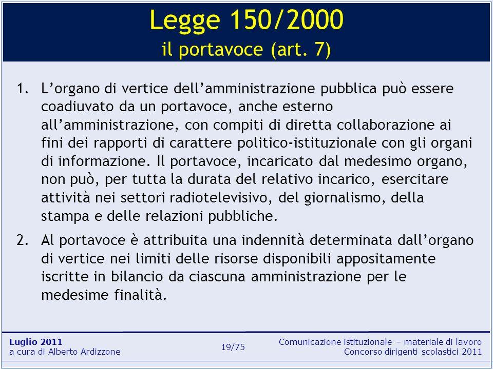 Comunicazione istituzionale – materiale di lavoro Concorso dirigenti scolastici 2011 Luglio 2011 a cura di Alberto Ardizzone 19/75 1.Lorgano di vertic