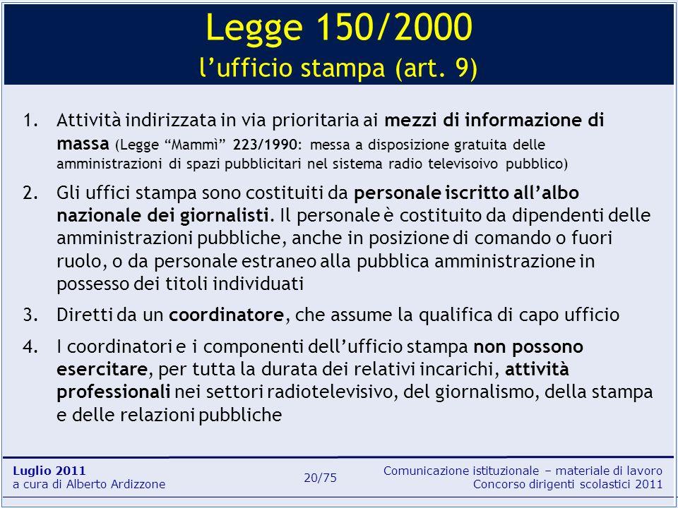 Comunicazione istituzionale – materiale di lavoro Concorso dirigenti scolastici 2011 Luglio 2011 a cura di Alberto Ardizzone 20/75 1.Attività indirizz
