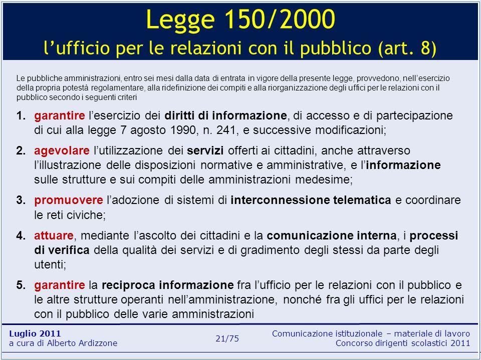 Comunicazione istituzionale – materiale di lavoro Concorso dirigenti scolastici 2011 Luglio 2011 a cura di Alberto Ardizzone 21/75 Le pubbliche ammini