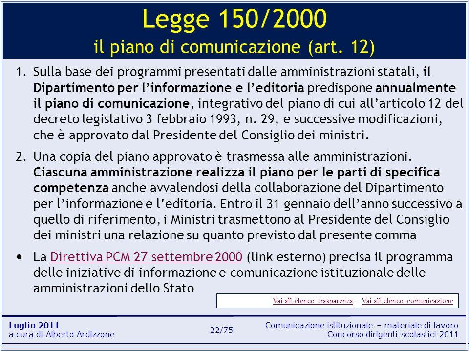 Comunicazione istituzionale – materiale di lavoro Concorso dirigenti scolastici 2011 Luglio 2011 a cura di Alberto Ardizzone 22/75 1.Sulla base dei pr