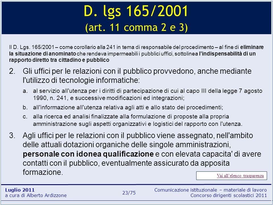 Comunicazione istituzionale – materiale di lavoro Concorso dirigenti scolastici 2011 Luglio 2011 a cura di Alberto Ardizzone 23/75 Il D. Lgs. 165/2001