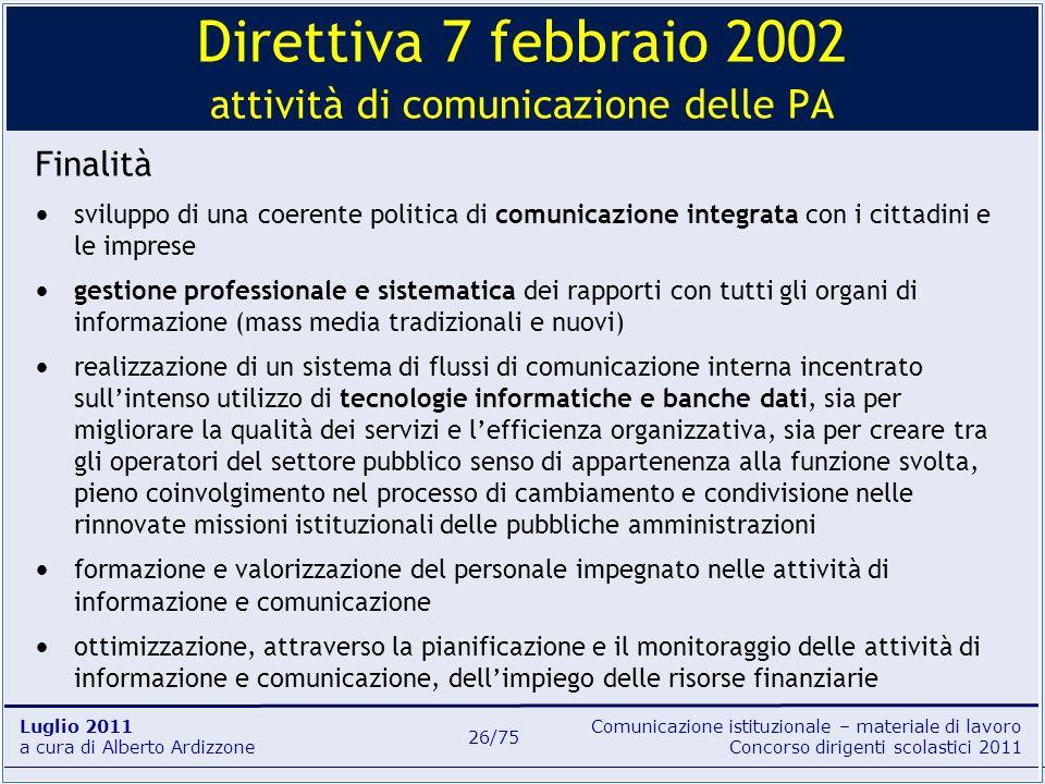 Comunicazione istituzionale – materiale di lavoro Concorso dirigenti scolastici 2011 Luglio 2011 a cura di Alberto Ardizzone 26/75 Finalità sviluppo d