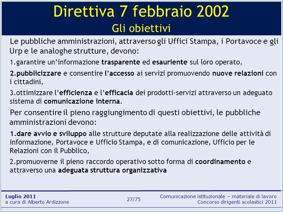 Comunicazione istituzionale – materiale di lavoro Concorso dirigenti scolastici 2011 Luglio 2011 a cura di Alberto Ardizzone 27/75 Le pubbliche ammini