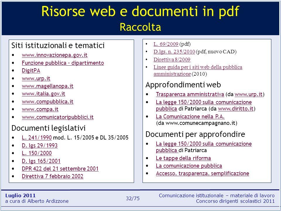 Comunicazione istituzionale – materiale di lavoro Concorso dirigenti scolastici 2011 Luglio 2011 a cura di Alberto Ardizzone 32/75 Siti istituzionali