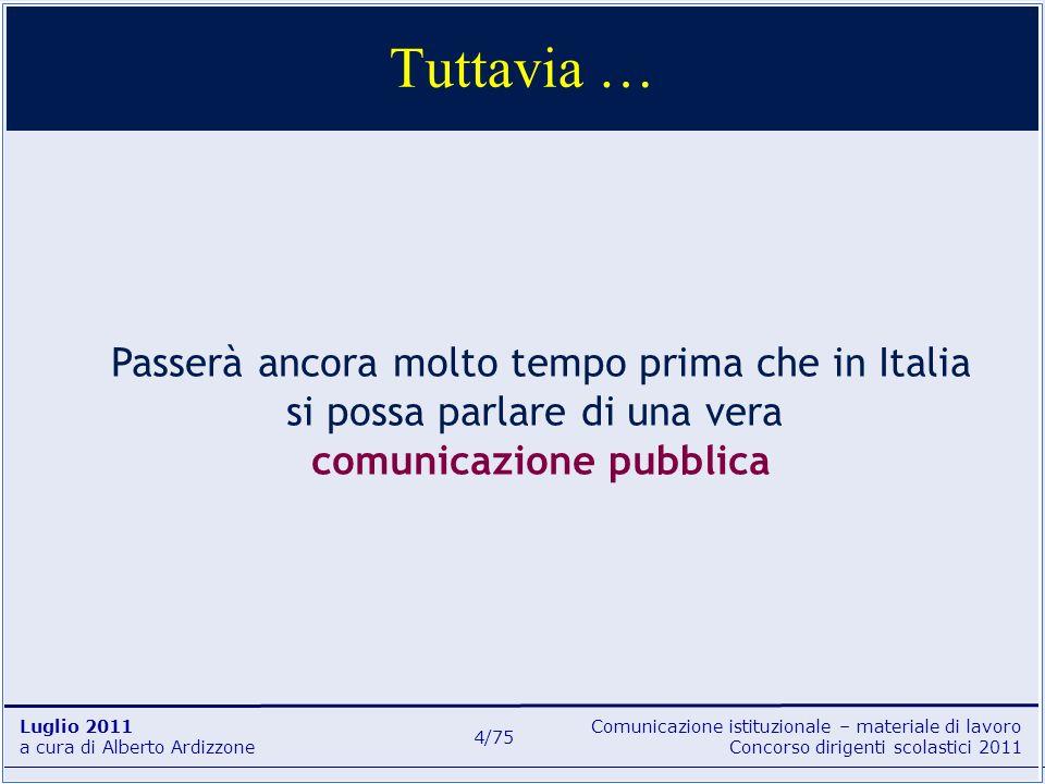 Comunicazione istituzionale – materiale di lavoro Concorso dirigenti scolastici 2011 Luglio 2011 a cura di Alberto Ardizzone 5/75 la Costituzione italiana (1948) già conteneva norme che andavano in questa direzione: – Art.