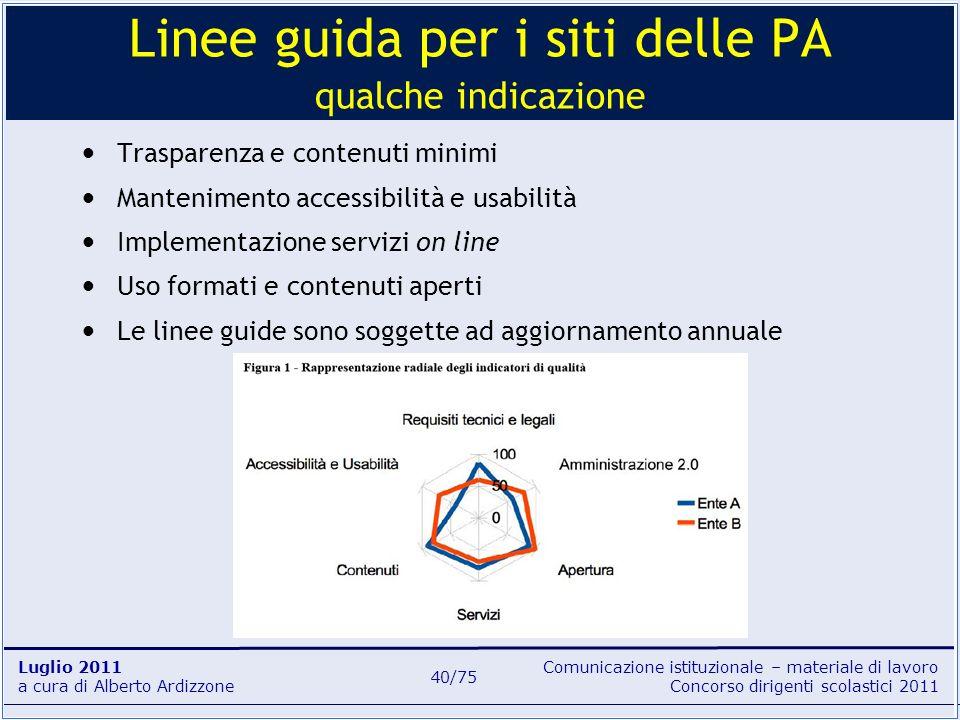 Comunicazione istituzionale – materiale di lavoro Concorso dirigenti scolastici 2011 Luglio 2011 a cura di Alberto Ardizzone 40/75 Trasparenza e conte