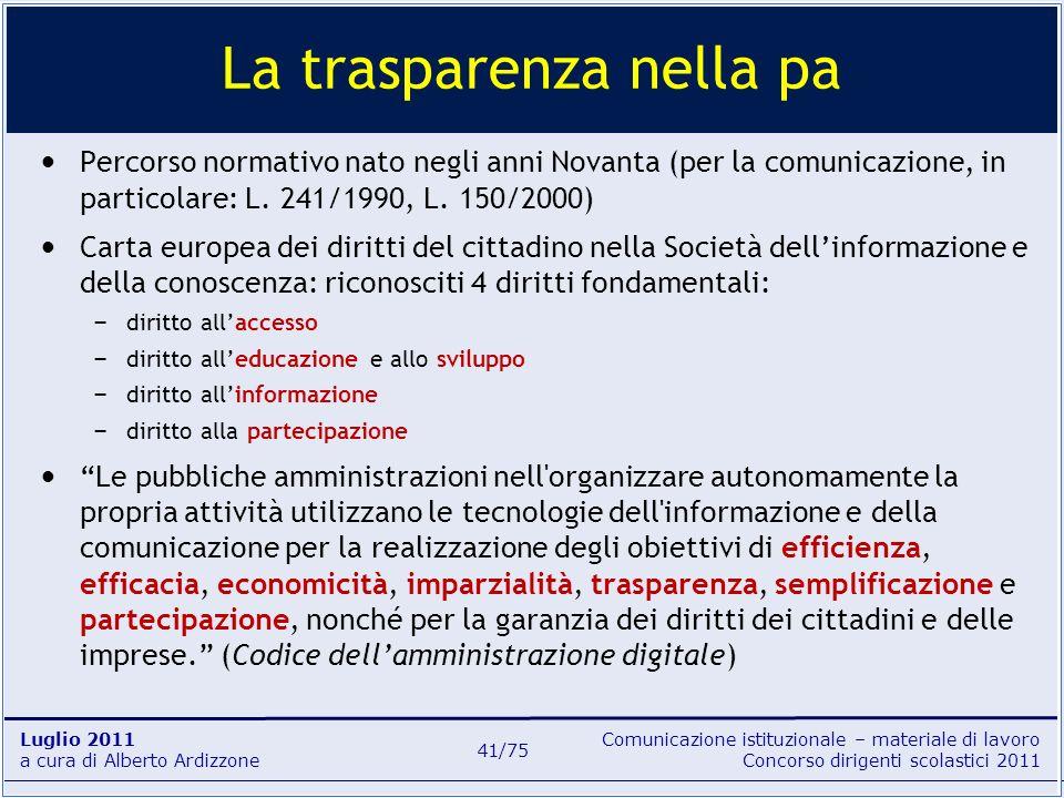 Comunicazione istituzionale – materiale di lavoro Concorso dirigenti scolastici 2011 Luglio 2011 a cura di Alberto Ardizzone 41/75 Percorso normativo