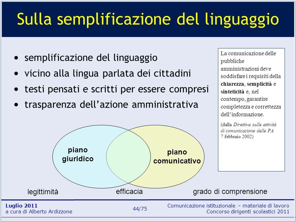 Comunicazione istituzionale – materiale di lavoro Concorso dirigenti scolastici 2011 Luglio 2011 a cura di Alberto Ardizzone 44/75 semplificazione del