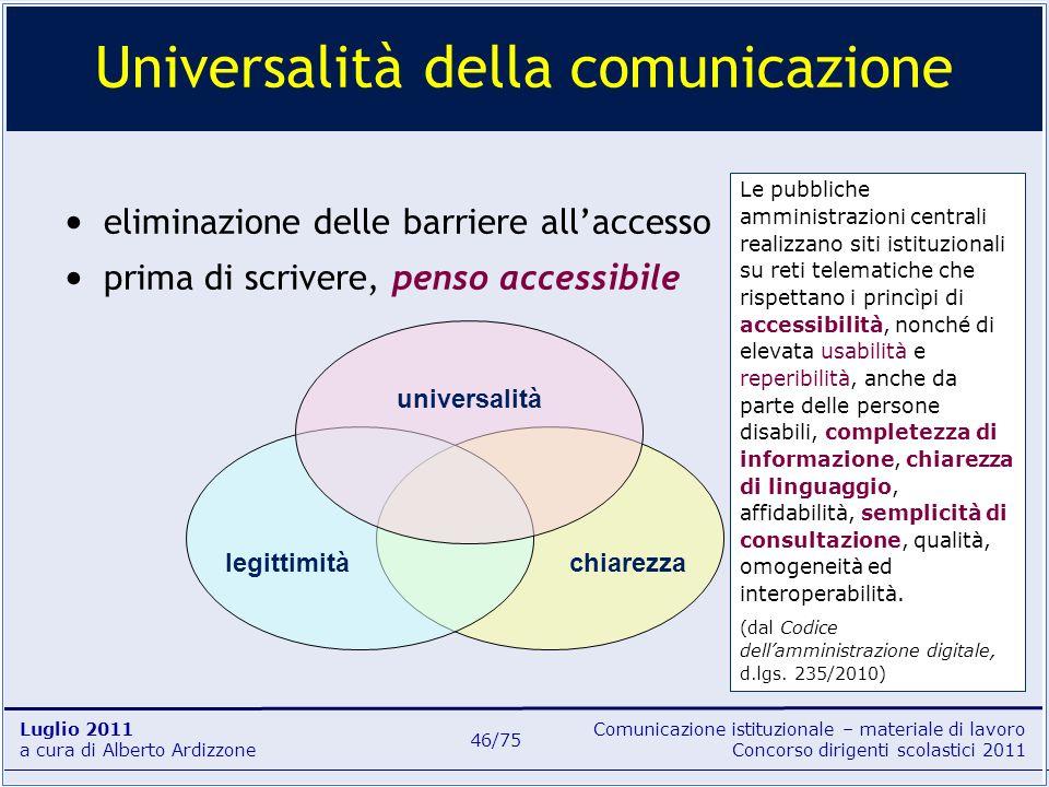 Comunicazione istituzionale – materiale di lavoro Concorso dirigenti scolastici 2011 Luglio 2011 a cura di Alberto Ardizzone 46/75 eliminazione delle