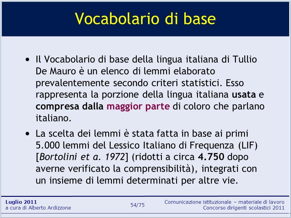 Comunicazione istituzionale – materiale di lavoro Concorso dirigenti scolastici 2011 Luglio 2011 a cura di Alberto Ardizzone 54/75 Il Vocabolario di b