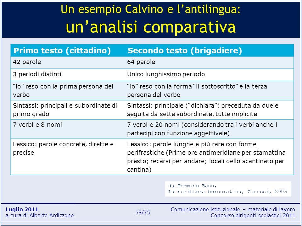 Comunicazione istituzionale – materiale di lavoro Concorso dirigenti scolastici 2011 Luglio 2011 a cura di Alberto Ardizzone 58/75 Primo testo (cittad