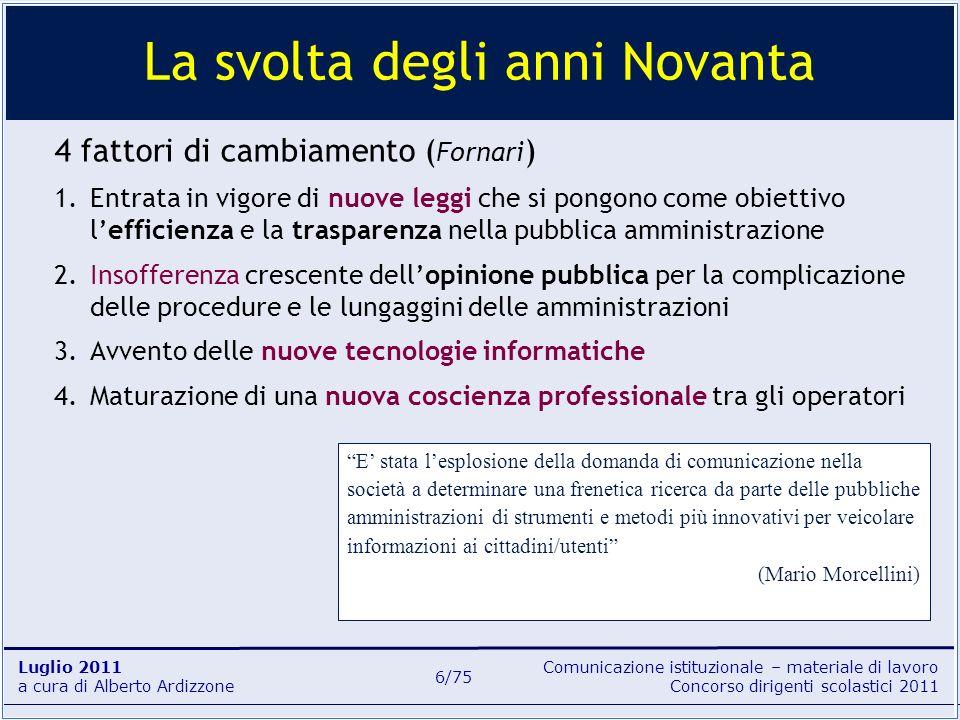 Comunicazione istituzionale – materiale di lavoro Concorso dirigenti scolastici 2011 Luglio 2011 a cura di Alberto Ardizzone 6/75 4 fattori di cambiam