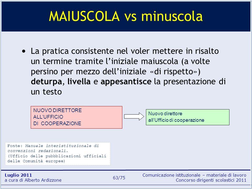 Comunicazione istituzionale – materiale di lavoro Concorso dirigenti scolastici 2011 Luglio 2011 a cura di Alberto Ardizzone 63/75 La pratica consiste