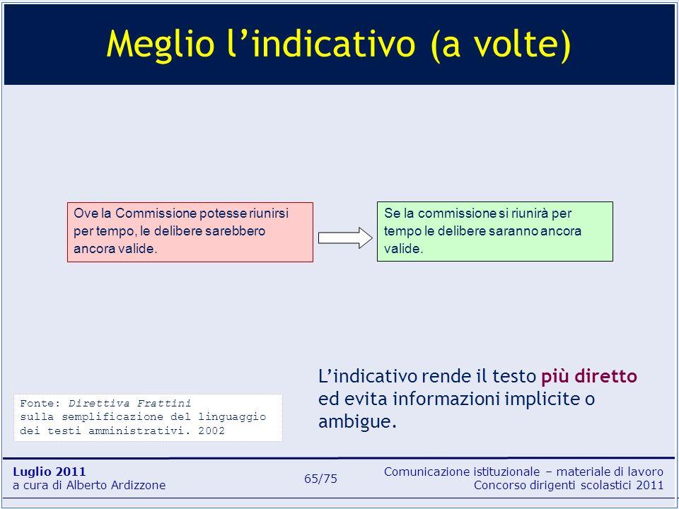 Comunicazione istituzionale – materiale di lavoro Concorso dirigenti scolastici 2011 Luglio 2011 a cura di Alberto Ardizzone 65/75 Meglio lindicativo