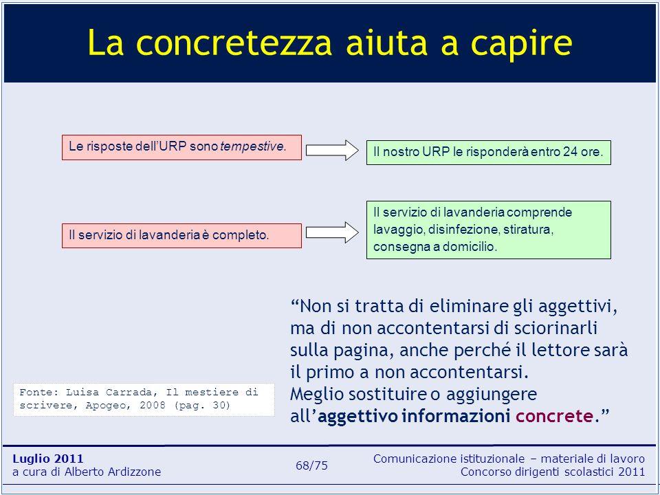 Comunicazione istituzionale – materiale di lavoro Concorso dirigenti scolastici 2011 Luglio 2011 a cura di Alberto Ardizzone 68/75 La concretezza aiut