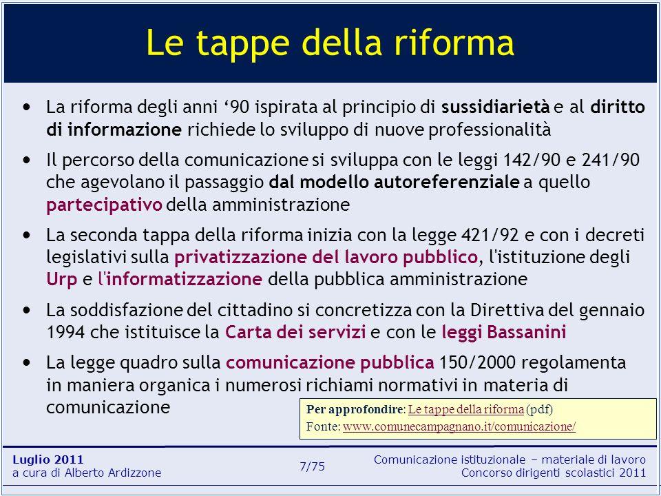 Comunicazione istituzionale – materiale di lavoro Concorso dirigenti scolastici 2011 Luglio 2011 a cura di Alberto Ardizzone 7/75 La riforma degli ann