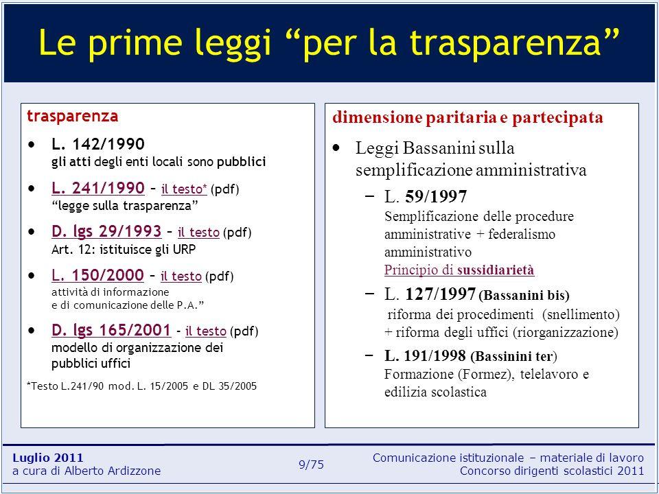 Comunicazione istituzionale – materiale di lavoro Concorso dirigenti scolastici 2011 Luglio 2011 a cura di Alberto Ardizzone 9/75 trasparenza L. 142/1