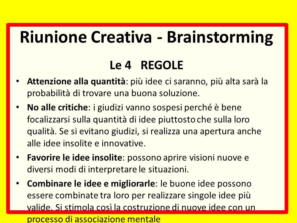 Riunione Creativa - Brainstorming Le 4 REGOLE Attenzione alla quantità: più idee ci saranno, più alta sarà la probabilità di trovare una buona soluzione.