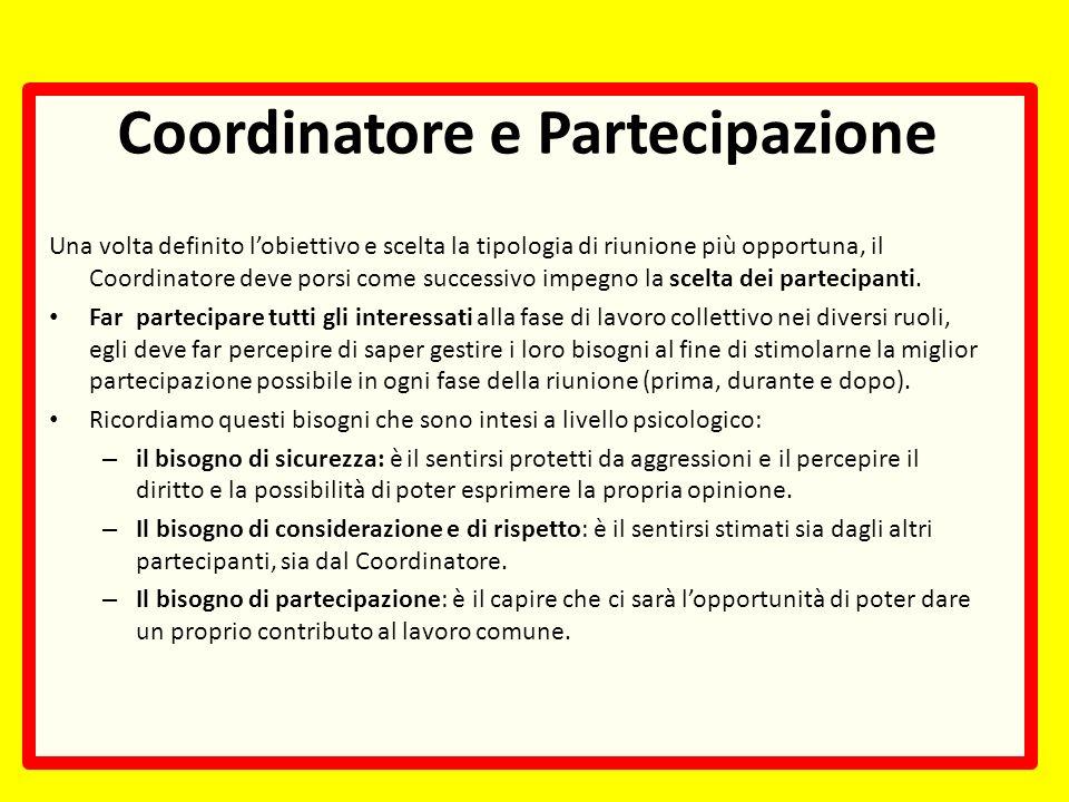 Coordinatore e Partecipazione Una volta definito lobiettivo e scelta la tipologia di riunione più opportuna, il Coordinatore deve porsi come successivo impegno la scelta dei partecipanti.