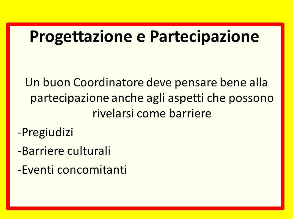 Progettazione e Partecipazione Un buon Coordinatore deve pensare bene alla partecipazione anche agli aspetti che possono rivelarsi come barriere -Pregiudizi -Barriere culturali -Eventi concomitanti