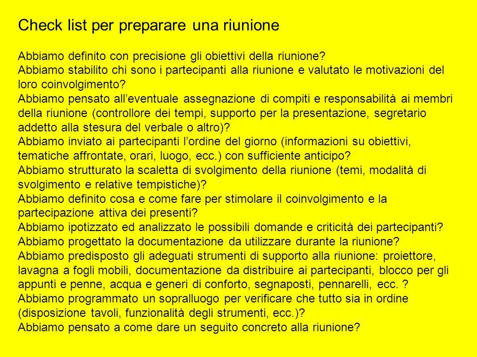 Check list per preparare una riunione Abbiamo definito con precisione gli obiettivi della riunione.