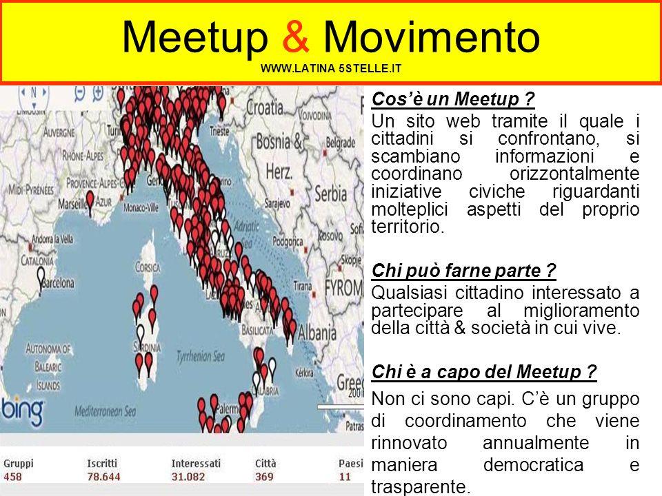 Meetup & Movimento WWW.LATINA 5STELLE.IT Cosè un Meetup ? Un sito web tramite il quale i cittadini si confrontano, si scambiano informazioni e coordin