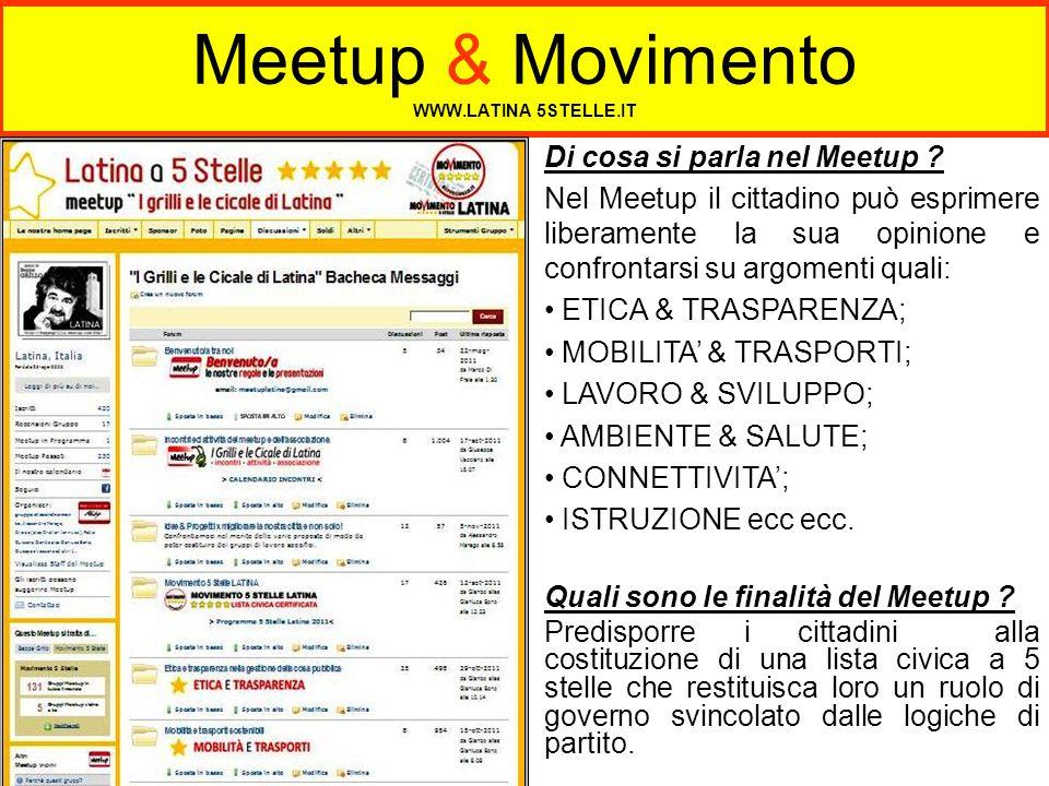 Meetup & Movimento WWW.LATINA 5STELLE.IT Di cosa si parla nel Meetup ? Nel Meetup il cittadino può esprimere liberamente la sua opinione e confrontars