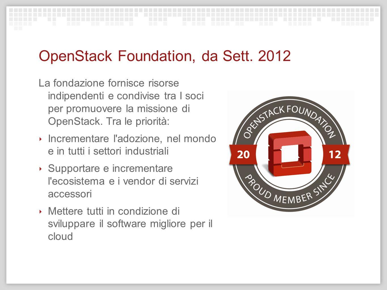 OpenStack Foundation, da Sett. 2012 La fondazione fornisce risorse indipendenti e condivise tra I soci per promuovere la missione di OpenStack. Tra le