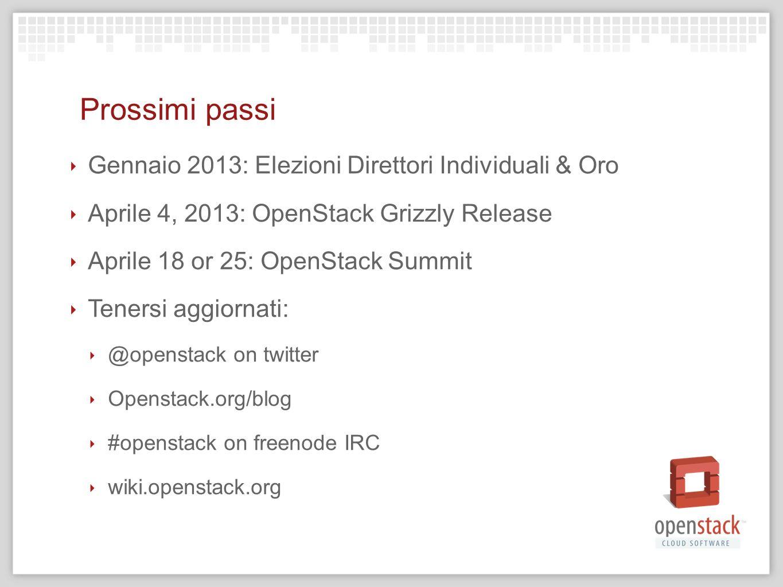 Prossimi passi Gennaio 2013: Elezioni Direttori Individuali & Oro Aprile 4, 2013: OpenStack Grizzly Release Aprile 18 or 25: OpenStack Summit Tenersi
