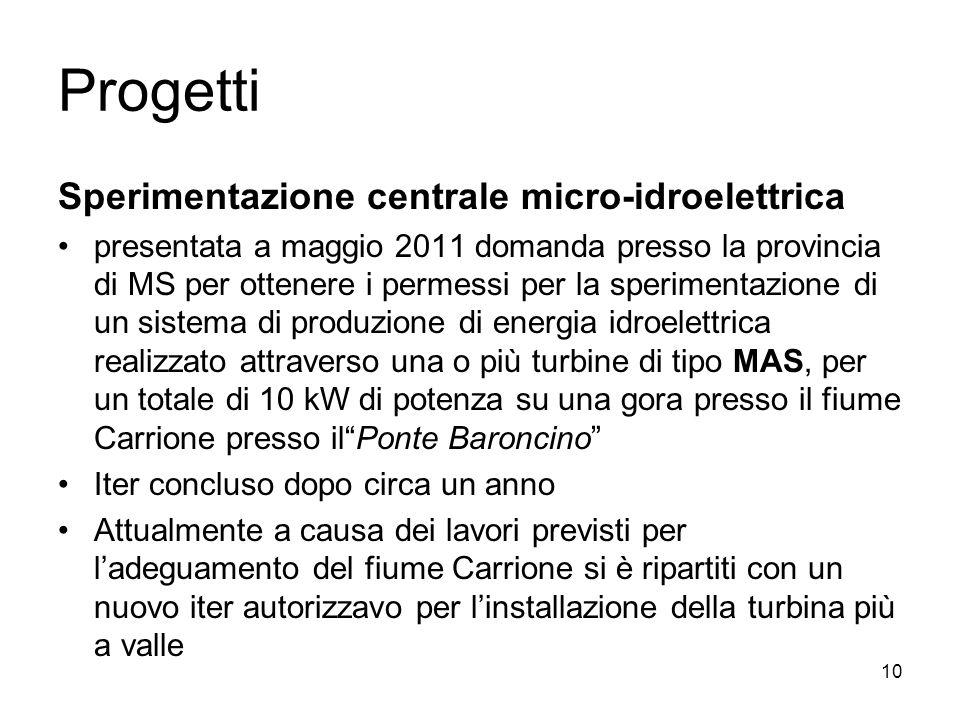 Progetti Sperimentazione centrale micro-idroelettrica presentata a maggio 2011 domanda presso la provincia di MS per ottenere i permessi per la sperim