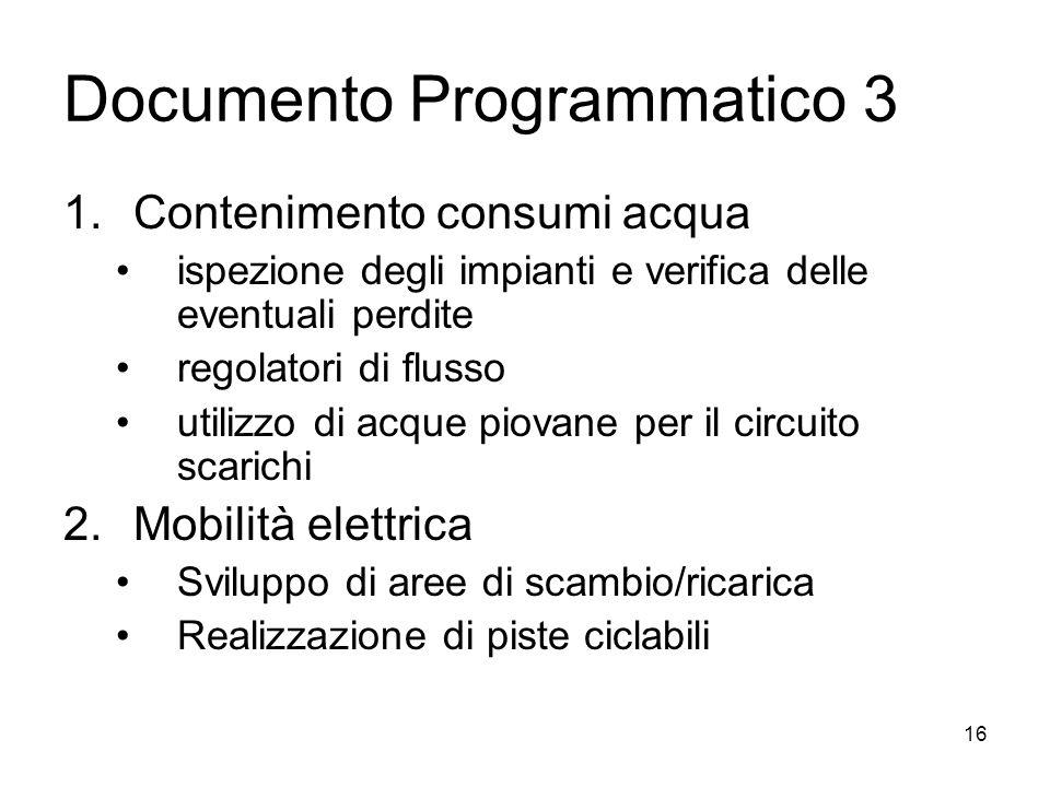 Documento Programmatico 3 1.Contenimento consumi acqua ispezione degli impianti e verifica delle eventuali perdite regolatori di flusso utilizzo di ac
