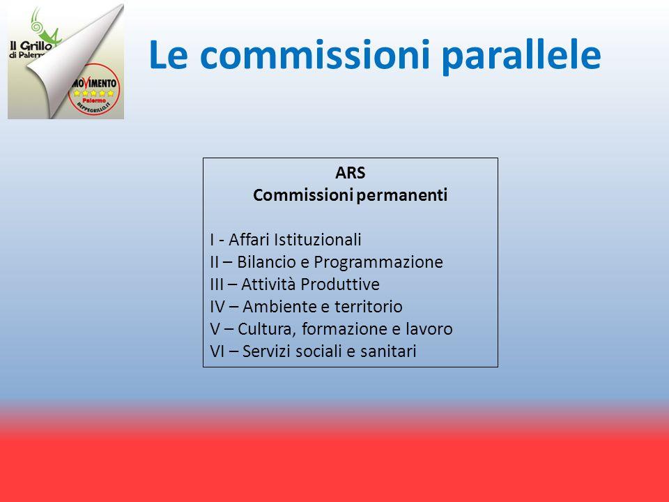 Le commissioni parallele ARS Commissioni permanenti I - Affari Istituzionali II – Bilancio e Programmazione III – Attività Produttive IV – Ambiente e territorio V – Cultura, formazione e lavoro VI – Servizi sociali e sanitari
