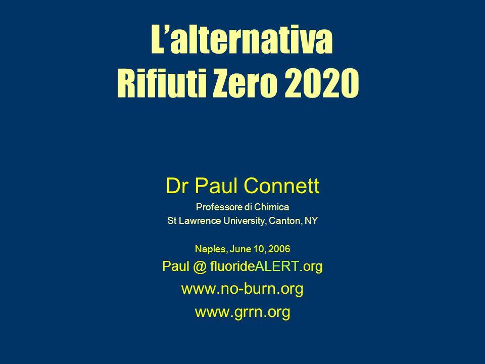 Lalternativa Rifiuti Zero 2020 Dr Paul Connett Professore di Chimica St Lawrence University, Canton, NY Naples, June 10, 2006 Paul @ fluorideALERT.org