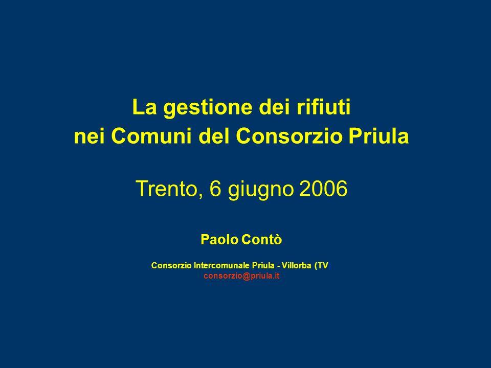 La gestione dei rifiuti nei Comuni del Consorzio Priula Trento, 6 giugno 2006 Paolo Contò Consorzio Intercomunale Priula - Villorba (TV) consorzio@pri