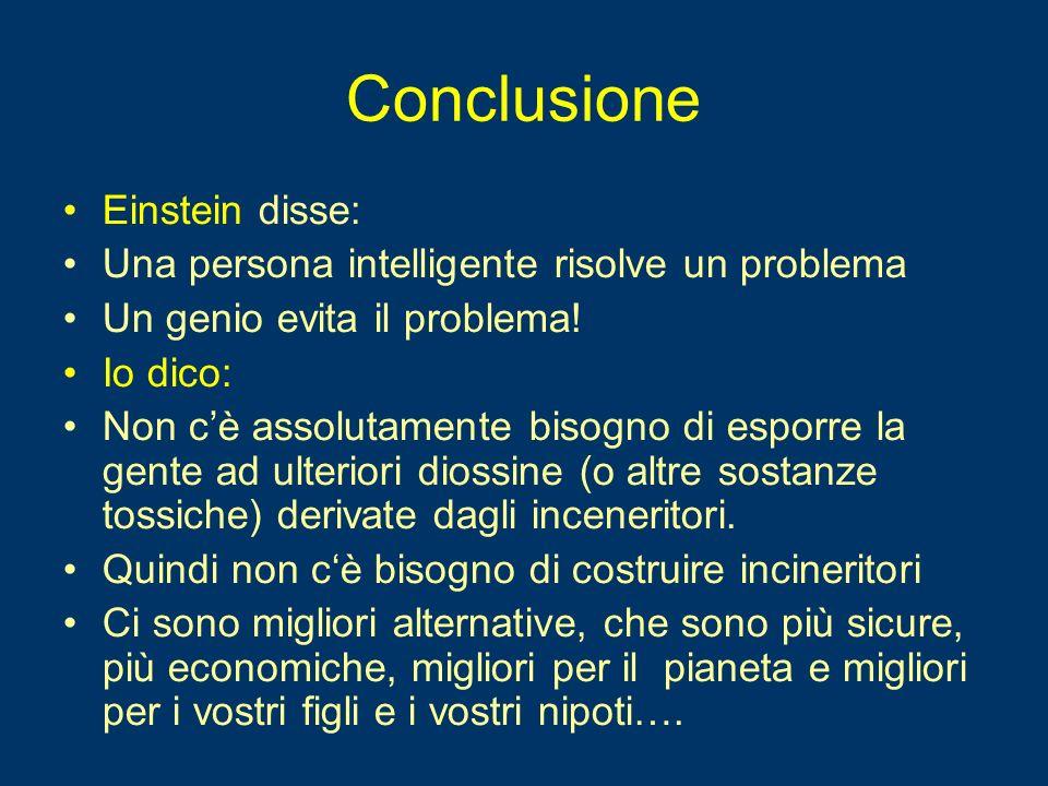 Conclusione Einstein disse: Una persona intelligente risolve un problema Un genio evita il problema.