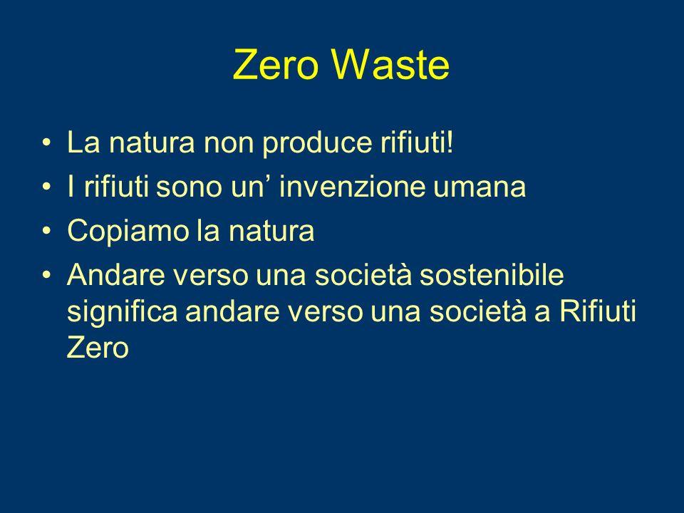 Zero Waste La natura non produce rifiuti! I rifiuti sono un invenzione umana Copiamo la natura Andare verso una società sostenibile significa andare v