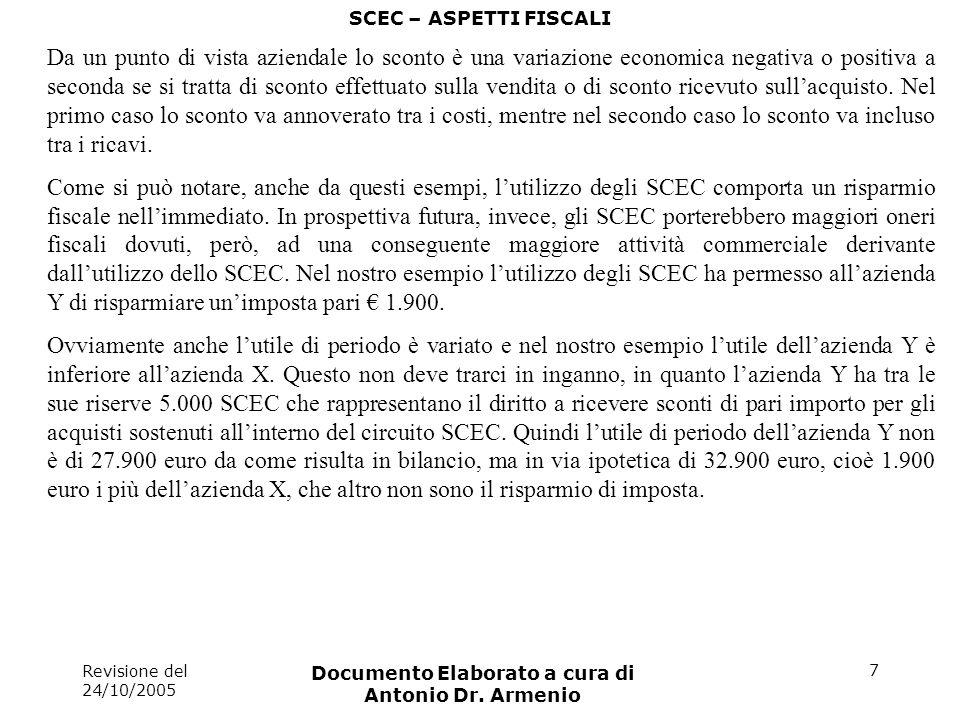 Revisione del 24/10/2005 Documento Elaborato a cura di Antonio Dr. Armenio 7 SCEC – ASPETTI FISCALI Da un punto di vista aziendale lo sconto è una var