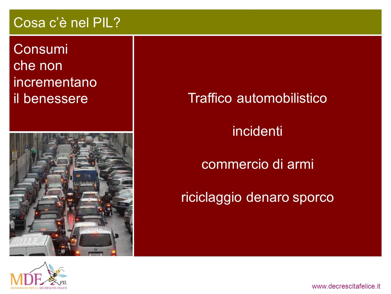 www.decrescitafelice.it Consumi che non incrementano il benessere Cosa cè nel PIL? Traffico automobilistico incidenti commercio di armi riciclaggio de