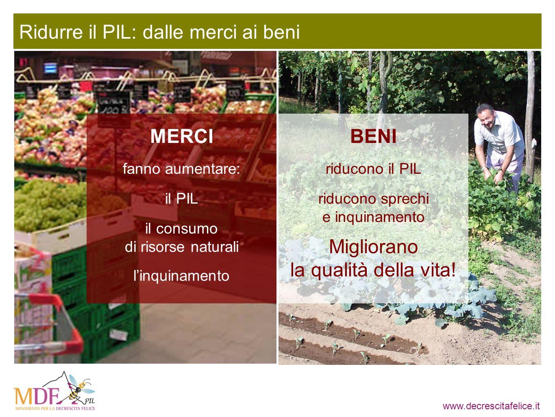 www.decrescitafelice.it Ridurre il PIL: dalle merci ai beni fanno aumentare: Migliorano la qualità della vita! MERCIBENI il PIL il consumo di risorse