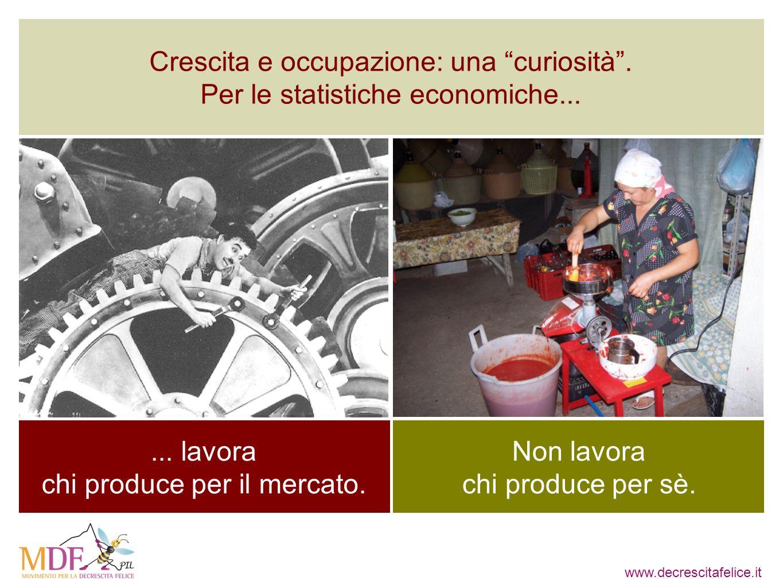 www.decrescitafelice.it... lavora chi produce per il mercato. Non lavora chi produce per sè. Crescita e occupazione: una curiosità. Per le statistiche