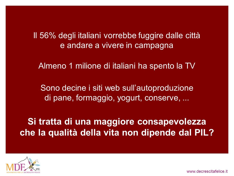 www.decrescitafelice.it Il 56% degli italiani vorrebbe fuggire dalle città e andare a vivere in campagna Almeno 1 milione di italiani ha spento la TV Sono decine i siti web sullautoproduzione di pane, formaggio, yogurt, conserve,...