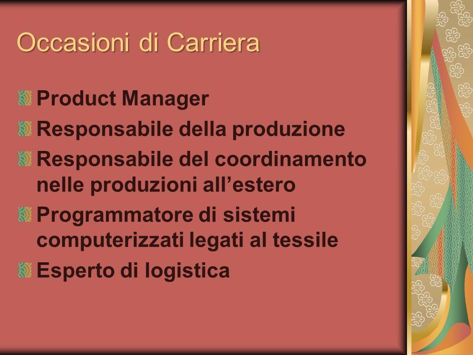 Occasioni di Carriera Product Manager Responsabile della produzione Responsabile del coordinamento nelle produzioni allestero Programmatore di sistemi