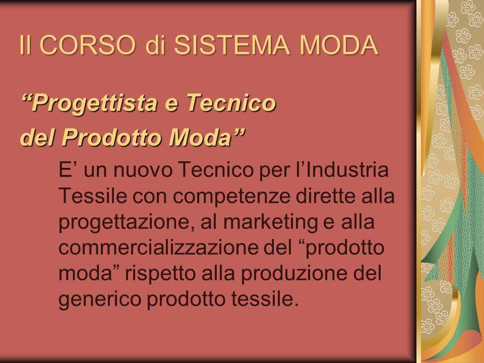 Il CORSO di SISTEMA MODA Progettista e Tecnico del Prodotto Moda E un nuovo Tecnico per lIndustria Tessile con competenze dirette alla progettazione,