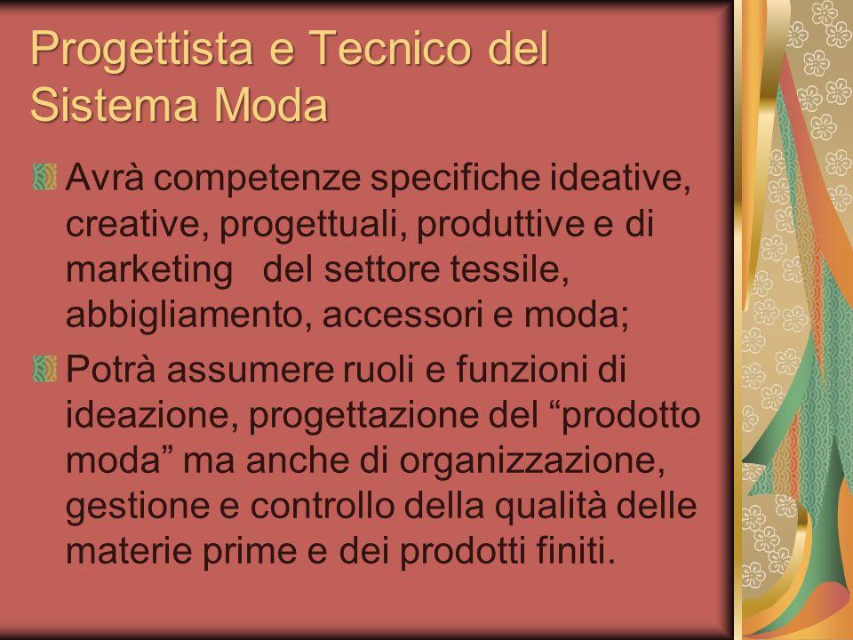 Progettista e Tecnico del Sistema Moda Avrà competenze specifiche ideative, creative, progettuali, produttive e di marketing del settore tessile, abbi