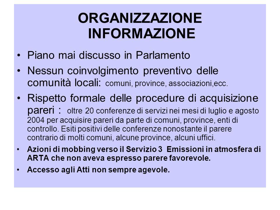 ORGANIZZAZIONE INFORMAZIONE Piano mai discusso in Parlamento Nessun coinvolgimento preventivo delle comunità locali: comuni, province, associazioni,ec